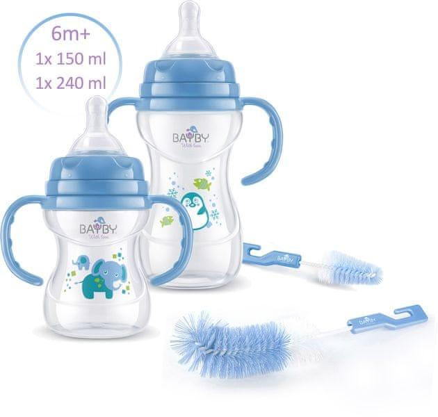 BAYBY Sada 2 kojeneckých lahví 6m+ s kartáčky, modrá
