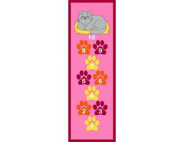 Dětský koberec Skákací panák růžový, kočka 67x200 cm