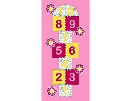 Dětský koberec Skákací panák růžový, květiny 95x200 cm