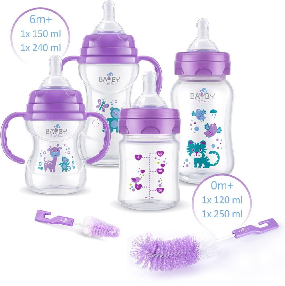 BAYBY Sada 4 dětských lahví s kartáčky - fialová