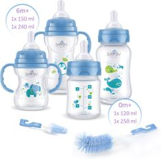 BAYBY Sada 4 dětských lahví s kartáčky