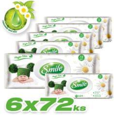 SMILE Baby Vlhčené ubrousky 6x72 ks