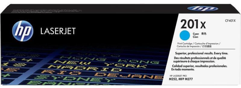 HP č.201X Azurová originální tonerová kazeta LaserJet s vysokou výtěžností (CF401X)