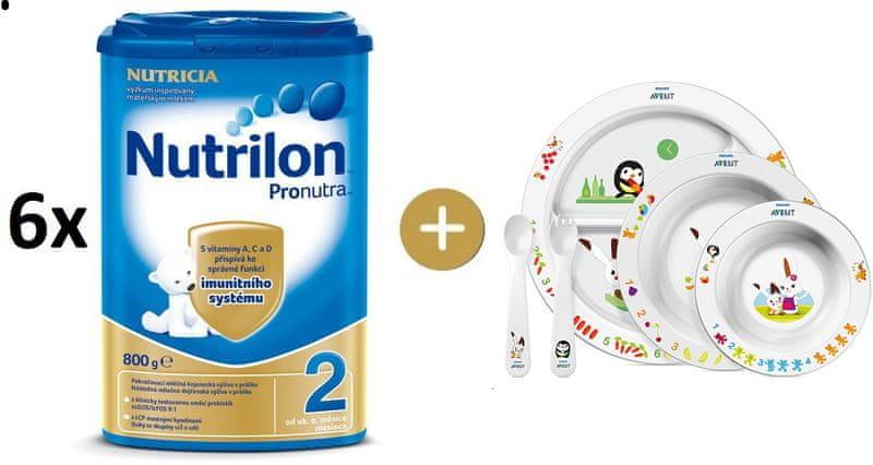 Nutrilon 2 Pronutra - 6×800g + Avent jídelní sada