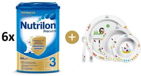 Nutrilon 3 Pronutra - 6×800g + Avent jídelní sada