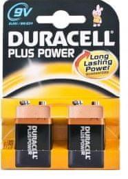 Duracell alkalne baterije Plus Power MN1604B2 PP3 9V, 2 kosa