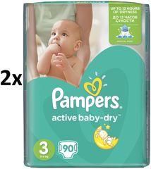 Pampers Pieluszki Active Baby Giantpack 3 ExtraLarge - 2 x 90 szt - 180 szt