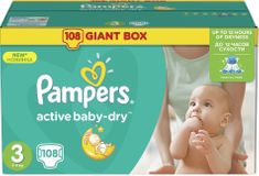 Pampers Pieluchy Active Baby 3 Midi (5-9kg) Giant Box -108 szt.