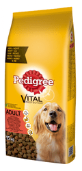 Pedigree Adult s hovädzím a hydinovým mäsom 15 kg