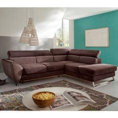 Rohová rozkladacia sedacia súprava s úložným priestorom, Pravé prevedenie, látka All senses F181/New Lucca P701 hnedá, MANIGO