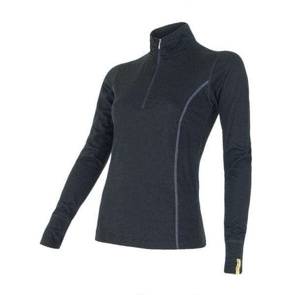 Sensor Merino Wool Active dámské triko dlouhý rukáv stoják černá L