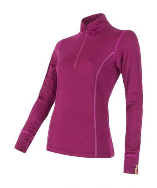 Sensor Merino Wool Active dámské triko dlouhý rukáv stoják lila XL