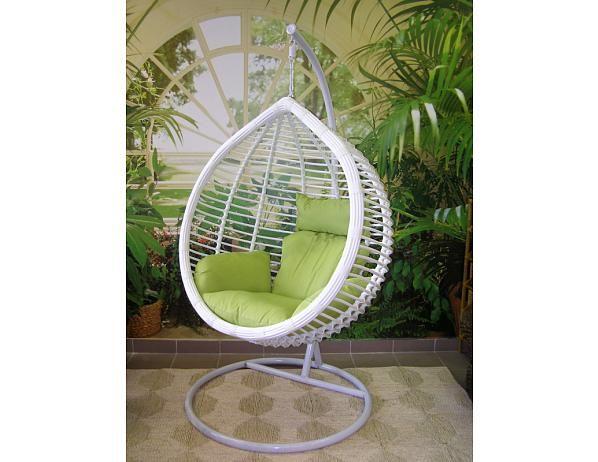 Závěsné relaxační křeslo MONA bílé, zelený polštář