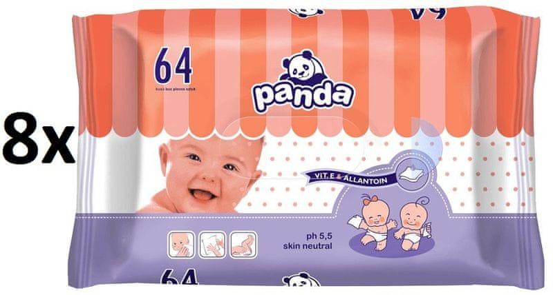 Panda Vlhčené ubrousky - 8 x 64 ks