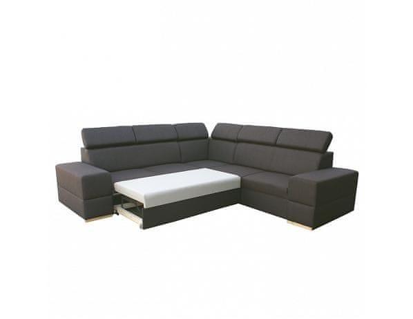 Rohová rozkládací sedací souprava s úložným prostorem, pravé provedení, tmavě-hnědá, MONAKO