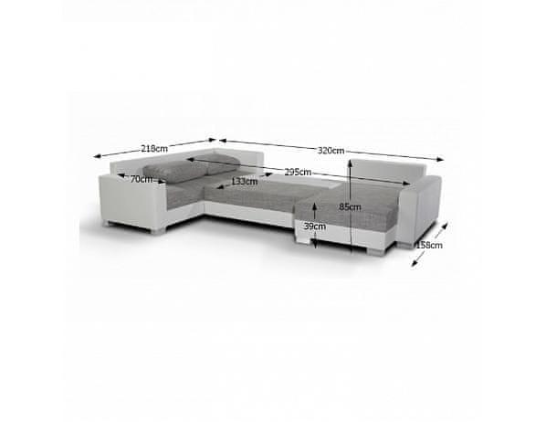 Rozkládací univerzální rohová sedací souprava s úložným prostorem, ekokůže bílá / látka černá, PALIO