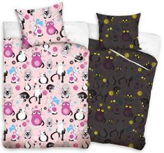 Carbotex Detské svietiace obliečky Mačky Ružové