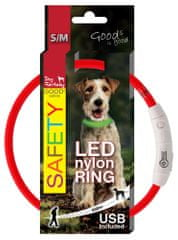 Dog Fantasy Obojok LED nylonový červený