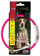 Dog Fantasy Obojok LED nylonový ružový
