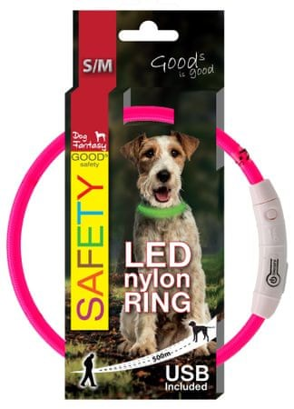 Dog Fantasy ovratnica, LED, roza, 45