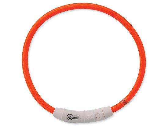 Dog Fantasy Obojek LED nylonový oranžový