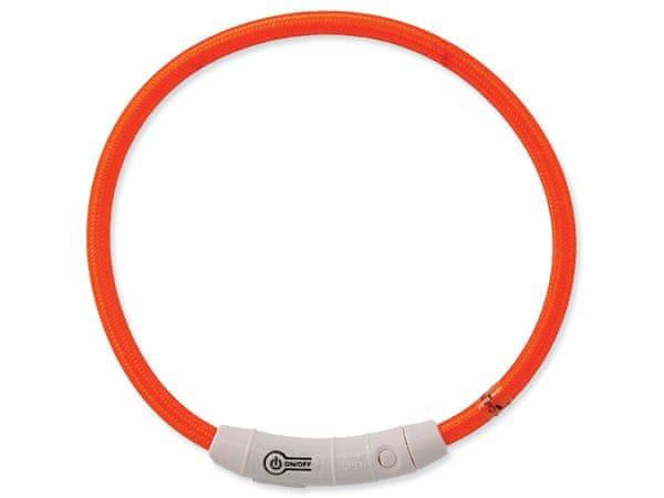 Dog Fantasy Obojek LED nylonový oranžový vel. 65