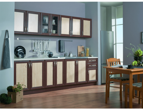 Kuchyňská linka Bazylia 260 cm - Provedení desky na skříňkách (deska dělená)