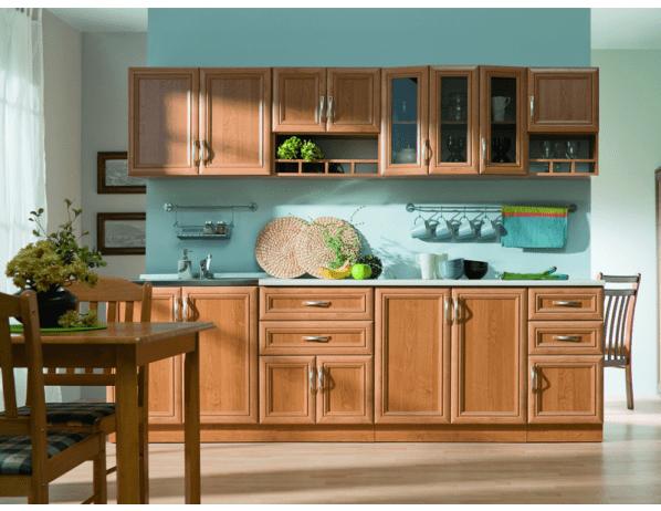 Kuchyňská linka Wanilia 260 cm - Provedení desky na skříňkách (deska dělená)