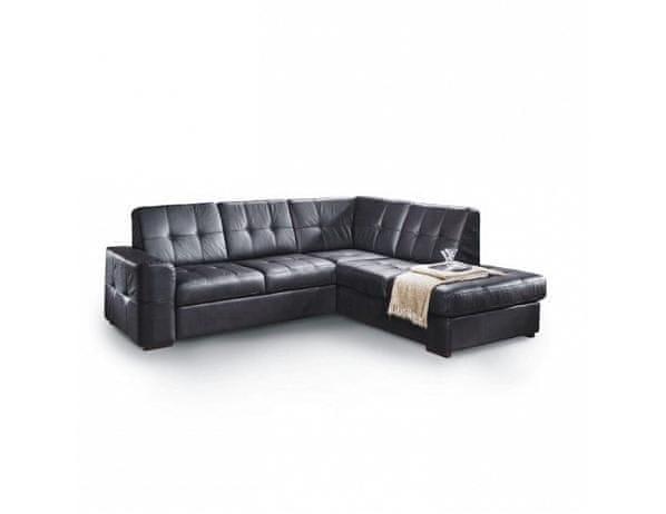 Rozkládací rohová sedací souprava s úložným prostorem, P provedení, kůže Advantage černá, TREK VELKÝ ROH