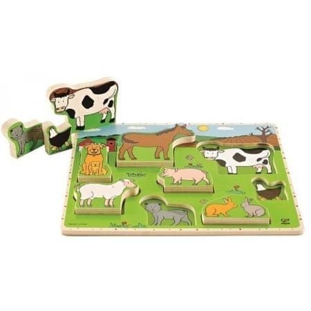 Hape lesena igrača Puzzle Živali s kmetije (za postaviti)