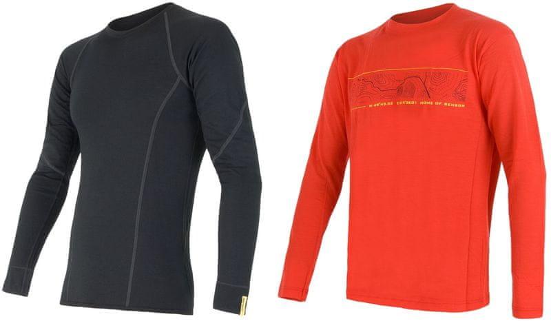 Sensor Merino Wool Active M set pánské triko dl. Ruk Černá+ triko dl. ruk.Pt Gps Červená L