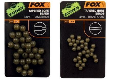 FOX Gumové korálky Tapered Bore Beads Trans Khaki 6 mm