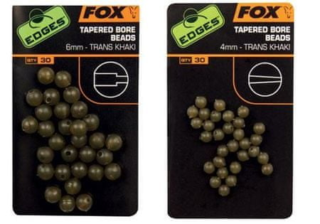 FOX Gumové korálky Tapered Bore Beads Trans Khaki 6 mm