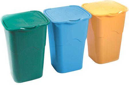 Heidrun set košev za odpadke, 3 x 50 l, zelen, moder in rumen