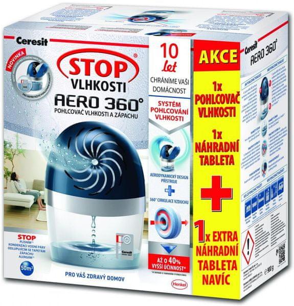 Ceresit Stop vlhkosti Aero 360° - černý přístroj + 2 tablety