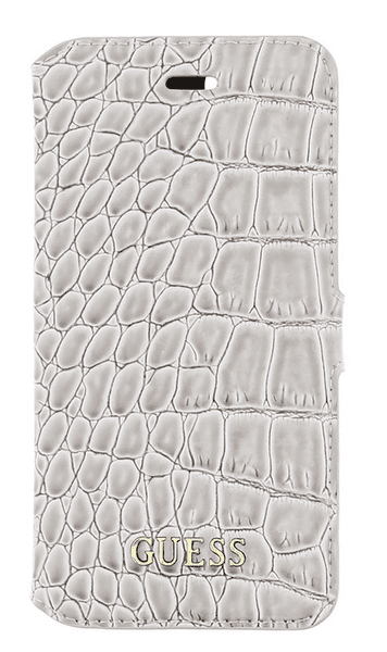 Guess GUFLBKP7SCOBE Shiny Croco Book pouzdro Beige pro iPhone 7