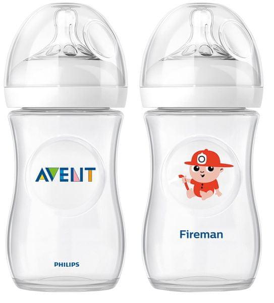 Avent Láhev Natural 260 ml (PP) + Láhev hasič