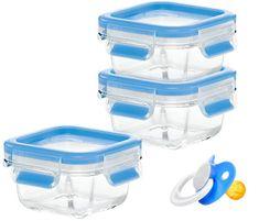 Emsa sklenené dózy CLIP & CLOSE detský set 3x200 ml