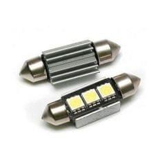 MLine žarnica LED 12V C5W 36mm 3xSMD 5050, alu-ohišje, CANBUS, bela, par