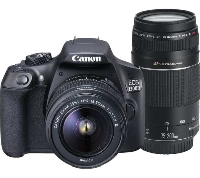 Canon EOS 1300D + 18-55 DC + 75-300 DC + 8 GB karta, batoh, 100GB Irista