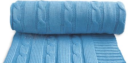 T-tomi otroška pletena odeja, modra
