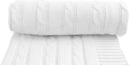T-tomi otroška pletena odeja, bela