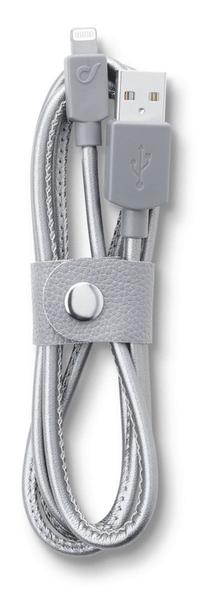 CellularLine Datový kabel LONGLIFE, Apple lightning, textilní obal, design Leather