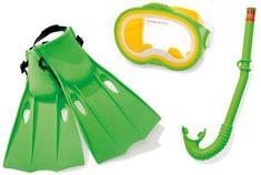 Intex Detská potápačská sada s plutvami a šnorchlom, zelená