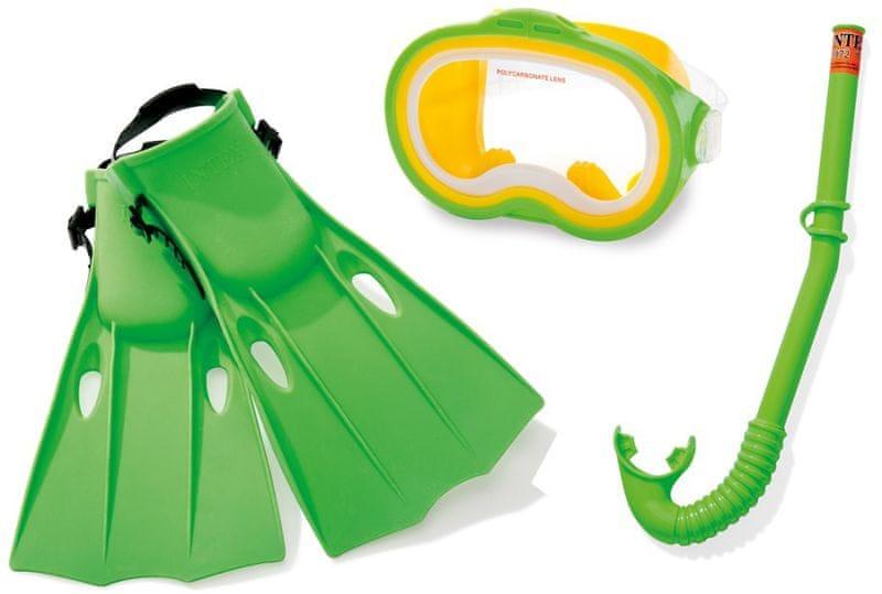 Intex 55955 Dětská potápěčská sada s ploutvemi a šnorchlem, zelená