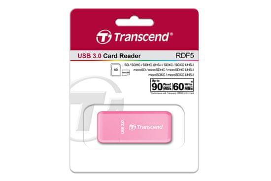 Transcend čitalnik kartic RFD5, roza