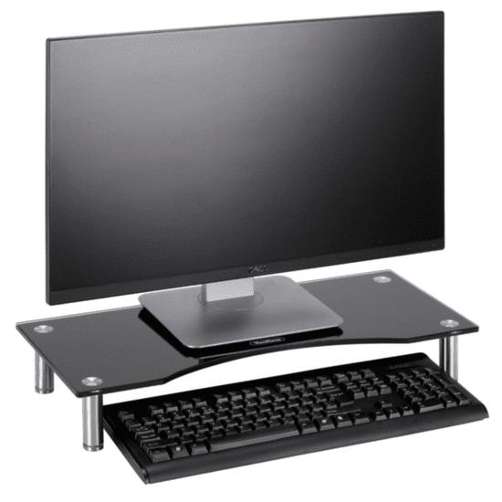 VonHaus steklen podstavek za monitor, črn