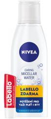 Nivea Osvěžující micelární voda N/S 200 ml + Labello jahoda