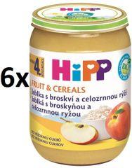 HiPP BIO Jablká s broskyňou a celozrnnou ryžou - 6 x 190 g