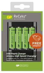 GP USB Rapid Charger + AA 2700mAh 4ks